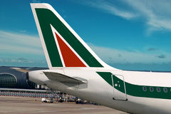 Alitalia vliegtuig. Stock Afbeelding