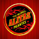 Alitas Picantes Las Mejores - The best Hot Chicken Wings spanish text Stock Images
