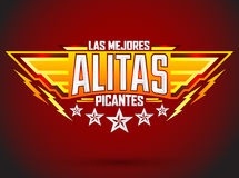 Alitas Picantes Las Mejores - The best Hot Chicken Wings spanish text Royalty Free Stock Photos