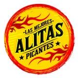 Alitas Picantes Las Mejores, il migliore Spagnolo caldo delle ali di pollo manda un sms a illustrazione vettoriale