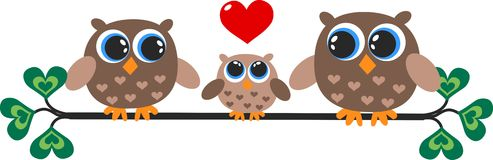 Alittle owl family Royalty Free Stock Images