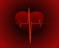 Alive. Big red heart on dark red background Royalty Free Stock Photo