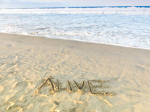 'Alive' Draw On Sandy Beach With Ocean Waves,  Inspirational Sand Word Stock Image