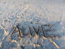 Alive Inspirational Sand Word. Alive spelled on the sand Royalty Free Stock Images