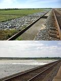 Aliviadero de Morganza, antes y después Fotografía de archivo libre de regalías