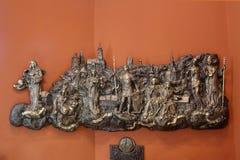 Alivio bajo con las iglesias y los santos patrones de Gradec, la vieja parte de Zagreb Imágenes de archivo libres de regalías