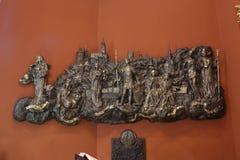 Alivio bajo con las iglesias y los santos patrones de Gradec, la vieja parte de Zagreb Fotos de archivo libres de regalías