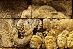 Alivio de elefantes en Borobudur en Java Fotografía de archivo libre de regalías