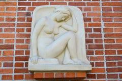 Alivio el girl& squating x22; y x28; Genius& x29; , un cierre para arriba Kaliningrado imagen de archivo libre de regalías