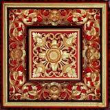 Alivio tallado y pintado, de madera hermoso, simétrico, de la mano Imagenes de archivo