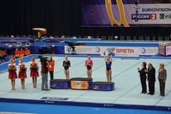 Aliya Mustafina, Jonna Adlerteg, Maria Paseka Stock Photos