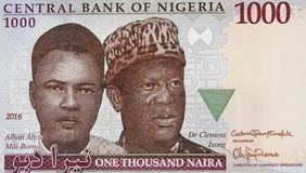 Aliyu Mai-Bornu and Clement Isong portrait on Nigerian 1000 nair. A 2016 banknote closeup macro, the first and second indigenous Governors of the Central Bank of Stock Image
