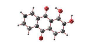 Alizarin molecular structure isolated on white. Alizarin or 1,2-dihydroxyanthraquinone or Turkey Red is an organic compound with formula C14H8O4. 3d illustration Royalty Free Stock Photo