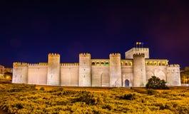 Aljaferia, el palacio árabe en Zaragoza, España imagenes de archivo