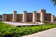 Aljaferia palace castle in Zaragoza Spain Aragon Royalty Free Stock Images