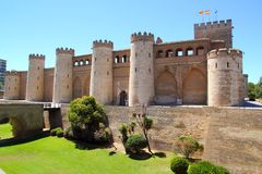 Aljaferia palace castle in Zaragoza Spain Aragon. Outdoor blue sky Stock Photography