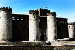 Aljaferia Palace in Zaragoza. Extensive Moorish castle called the Aljafería, the most important Moorish buildings in northern Spain royalty free stock image