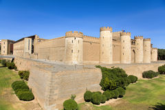 Aljaferia Palace in Zaragoza, Spain. A view of the Aljaferia Palace in Zaragoza, Spain, a fortified medieval Islamic palace built during the eleven century stock photo