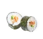 Aljaska hosomaki sushi isolated. Composition of two aljaska hosomaki sushi isolated over the white background Stock Images