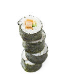 Aljaska hosomaki sushi. Pile of multiple aljaska hosomaki sushi  over the white background Royalty Free Stock Images