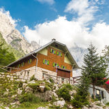 Aljaz Lodge in the Vrata Valley, Slovenia. Aljaz Lodge in the Vrata Valley, a mountain hut that lies near the stream Triglav Bistrica in the upper end of the Stock Photography