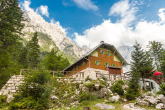 Aljaz Lodge in the Vrata Valley, Slovenia. Aljaz Lodge in the Vrata Valley, a mountain hut that lies near the stream Triglav Bistrica in the upper end of the Royalty Free Stock Photo