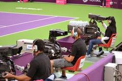 Aljazeera folâtre des cameraman images libres de droits