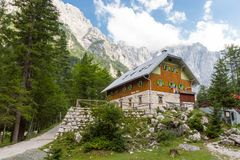 Aljazev dom in Vrata Valley, Triglav National Park in Julian Alps, Slovenia, Europe. Aljaz Lodge or Aljazev dom in Vrata Valley, mountain hut that lies near the Stock Photography