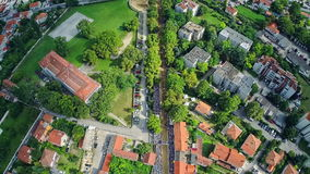 Alka procession in Sinj, aerial ascent shot. SINJ, CROATIA - August 3, 2014: Copter aerial ascent view of the Alka track with people in the stands. Alka is stock video