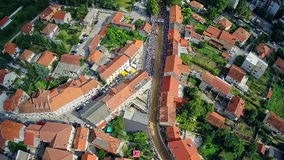Alka procession in Sinj, aerial shot stock footage