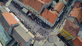 Alka procession in Sinj, aerial shot stock video
