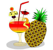 Alkagolinyy cocktail and fruits in goblet Royalty Free Stock Image