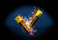 Alkaliczna bateria na ogieniu Zdjęcia Royalty Free
