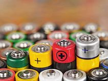 alkaline batteri Arkivfoton