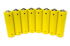 Alkaline batteries. Eight batteries isolated on white. Visible polarity signs Royalty Free Stock Photography