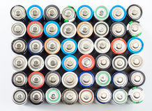 Alkaline batteries aa size on white background Royalty Free Stock Image