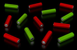 Alkaline batteries on black background Stock Photos