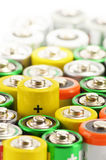 Alkaline batteries. Chemical waste Stock Photos