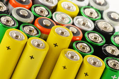 Alkaline batteries. Chemical waste Stock Photo
