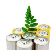 Alkaline batteries and a green leaf . Royalty Free Stock Photography