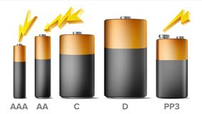 Alkaline Batteries Mock Up Set Vector. Different Types AAA, AA, C, D,. PP3, 9 Volt. Standard Modern Realistic Battery. Black Yellow Template. Isolated Vector Illustration