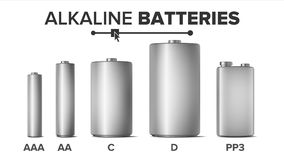 Alkaline Batteries Mock Up Set Vector. Different Types AAA, AA, C, D,. PP3, 9 Volt. Standard Modern Realistic Battery. Metal Clean Empty Template. Isolated Royalty Free Illustration