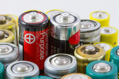 Alkaline batteries with selective focus on two red-black protrud Royalty Free Stock Images