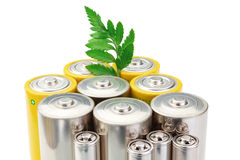 Alkaline batteries symbol of clean energy . Stock Photo