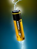 Alkaline battery. Electricity sparks going through an AA battery. Digital illustration