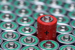 Alkaline battery AAA size with selective focus on single battery Royalty Free Stock Photography