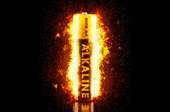 Alkaline Battery on Fire Stock Photos