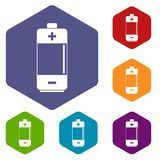 Alkaline battery icons set hexagon Royalty Free Stock Image