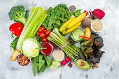 Alkaline diet concept - fresh foods on rustic background royalty free stock photography