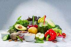 Alkaline diet concept - fresh foods on rustic background Stock Photos